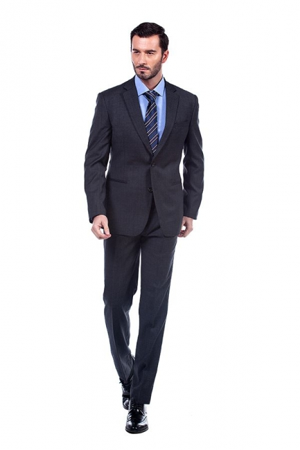 Dark Grey 2 Pockets Slim Bespoke Suits | Casual Notched Lapel Suit Customize Wedding Tuxedos
