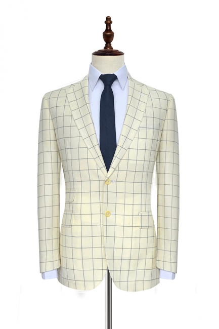Cream White Wool Large Lattice Two button Tailored Suit UK For Men | Bespoke Peak Lapel Single Breasted Tailored 2 Piece Suits