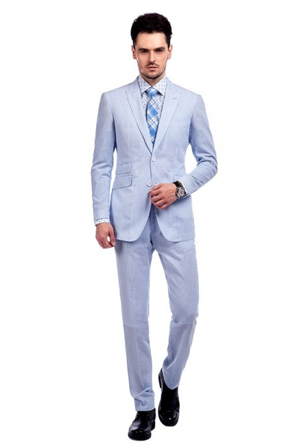 Blue Stripes Single Breasted Wedding Bestman Tuxedos | Peaked Lapel Two Buttons Tailor Made Causal Suit for Men