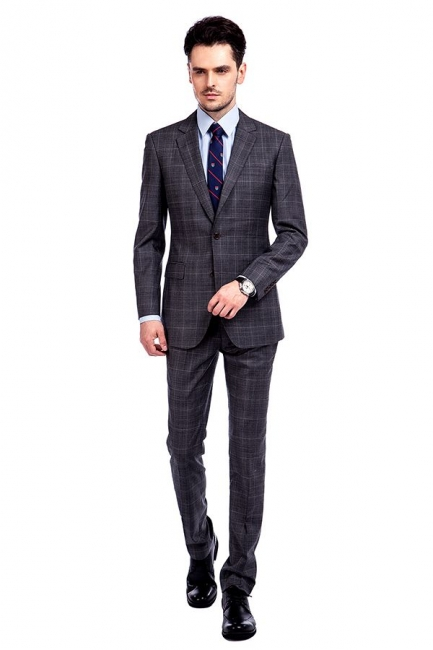 New Trendy Bespoke High Quality Grey Checks Suit for Men | Fashion Peak Lapel 2 Pocket Single Breasted UK Wedding Suit