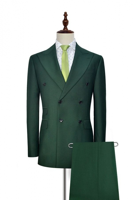 Green Double Breasted Tailored Suit UK For Formal | Peaked Lapel 3 Pockets Custom Made Causal Suit