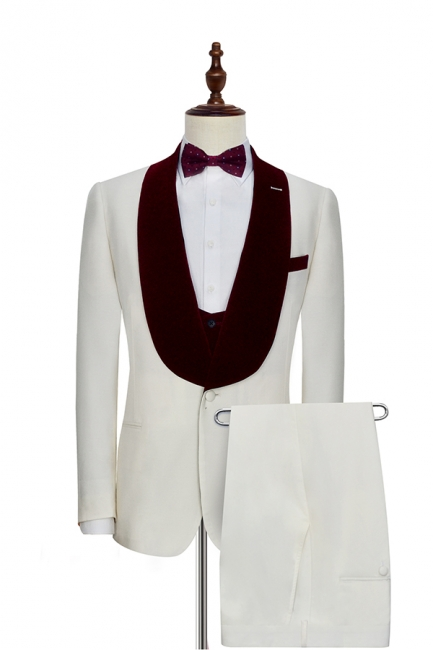 White Red Velvet Shawl Collar One Button UK Wedding Suit For Bestman | Latest Design Single Breasted Slim Fit Suit