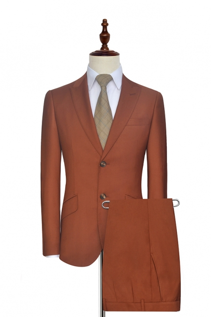 New Trendy Rust Red Two Button Custom Suit For Office | Single Breasted Peaked Lapel Tailoring Suit
