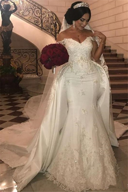 Off-the-Shoulder Sweetheart Tulle lace Appliques Long UK Wedding Dress with Detachable Train