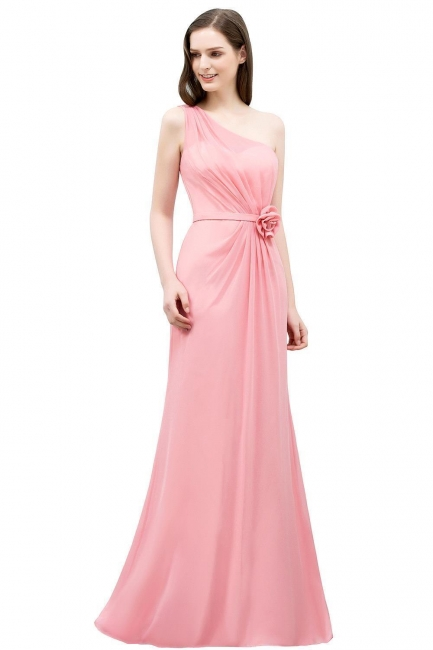 Sexy Trumpt Floor Length One-shoulder Ruffled Chiffon Bridesmaid Dresses UK with Flower