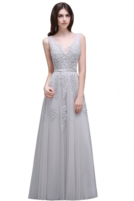 Summer Floor-length Tulle Bridesmaid Dress with Appliques