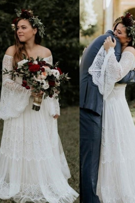 Dream Lace A Line Beach Wedding Dresses | Off The Shoulder Bridal Gown With Long Sleeve