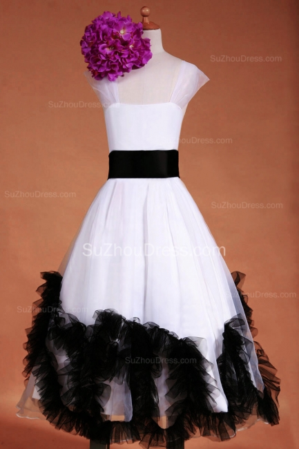 Cuty White UK Flower Girl Dresses Square Black Sash Tiered Ruffle Cute Floor Length Zipper Organza Pageant Dress