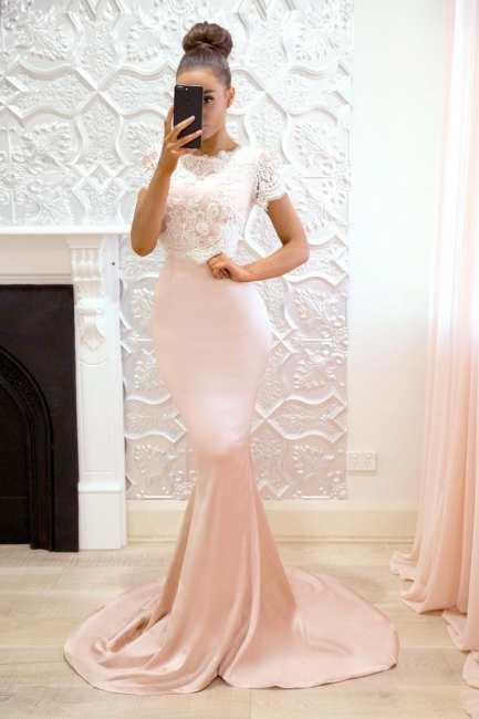 Cute Short-Sleeve Maid of Honor Dress | Lace Sexy Trumpt Bridesmaid Dress On Sale