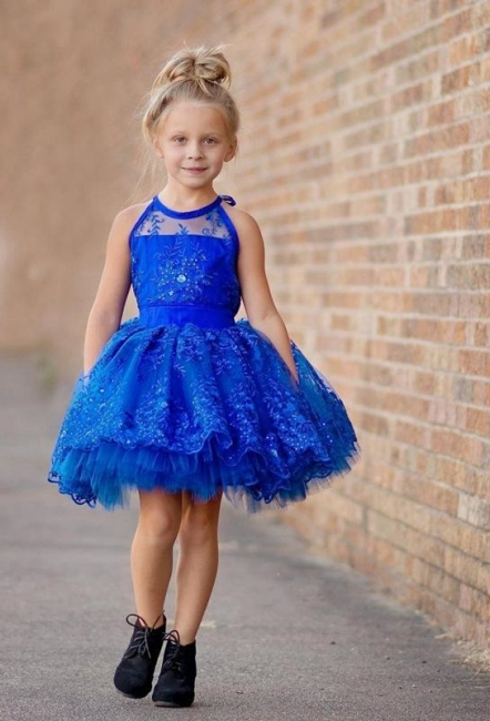 New Arrival Royal Blue Lace Appliques UK Flower Girl Dress | Halter Puffy Mini Girls Pageant Dress