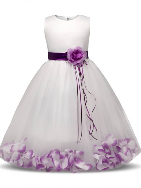 Cute Tulle Scoop Appliques Sashes Ankle-Length UK Flower Girl Dress