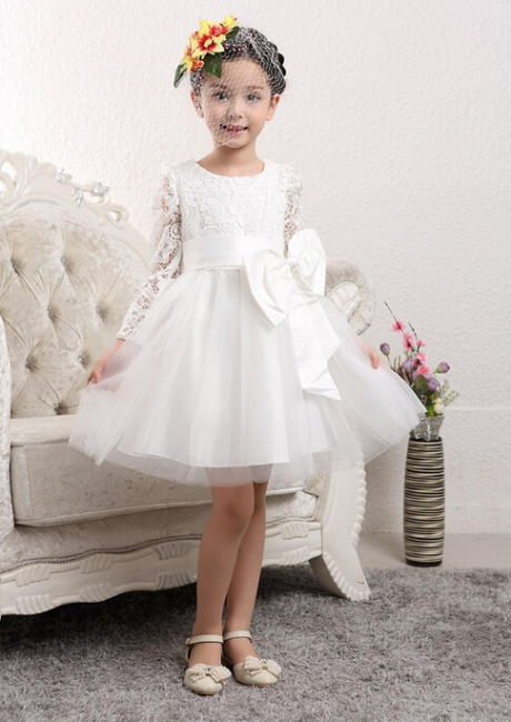 Cute Tulle Lace UK Flower Girl Dress | Bowknot Long Sleeve Zipper Girls Pageant Dress