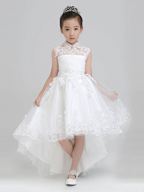 Modest Hi-Lo Tulle High Neck Sleeveless UK Flower Girl Dress with Appliques