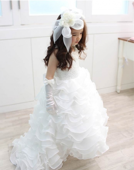 Organza Lace Layered Bowknot Long UK Flower Girl Dress with Pearls