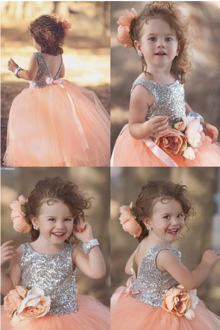 Cute Tulle Sequined Flower Girl Dress|Jewel Sleeveless Girls Pageant Dress