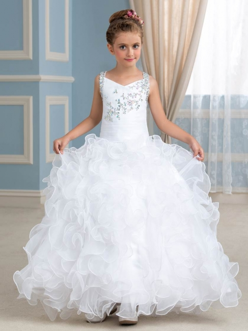 Organza Ruffles Puffy UK Flower Girl Dress with Beadings