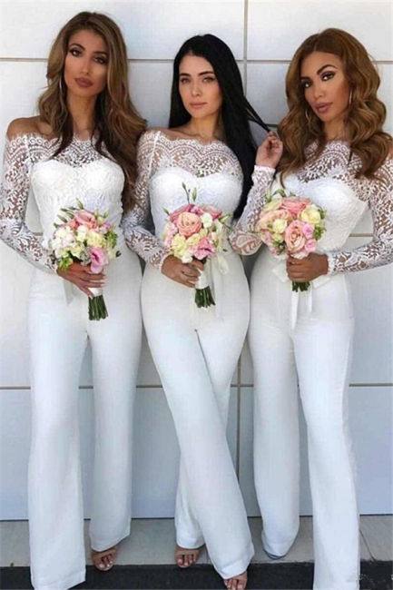 Off Shoulder Lace Jumpsuit Bridesmaid Dresses UK | Winter Column Wedding Party Pants