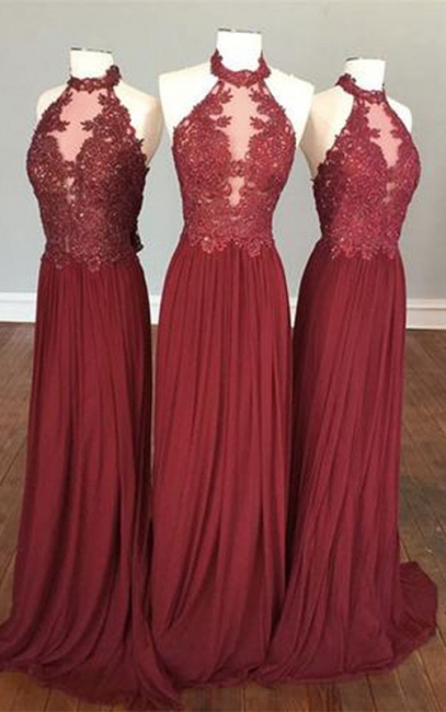 Delicate Lace Appliques Halter Sleeveless Chiffon Burgundy Bridesmaid Dress