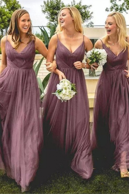 Cheap Spring Spaghetti Straps Bridesmaid Dresses UK | 30D Chiffon Long Maid Of Honor Dresses