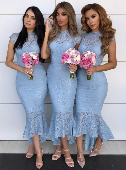 High Neck Lace Bridesmaid Dresses UK Cheap | Cap Sleeves Sexy Trumpt Maid of Honor Dresses with Fishtail
