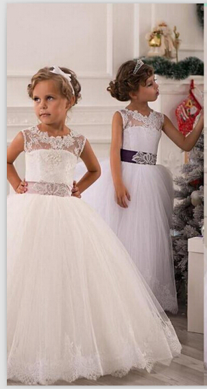 Modern Illusion Sleeveless Tulle UK Flower Girl Dress With Lace Appliques
