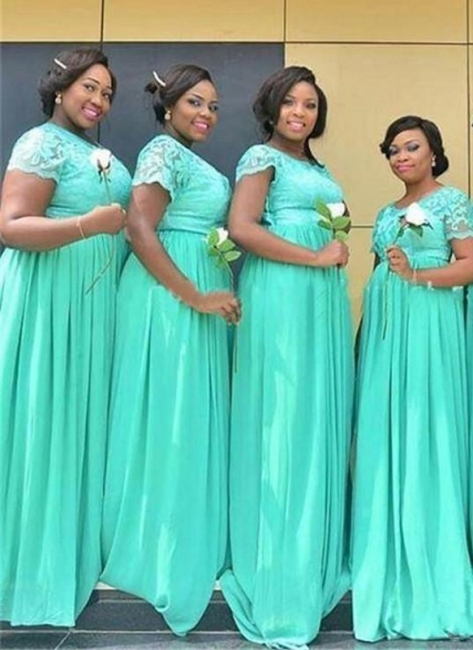 Summer Mint Green Chiffon Bridesmaid Dresses UK | Scoop With Sleeves Lace Wedding Party Dresses