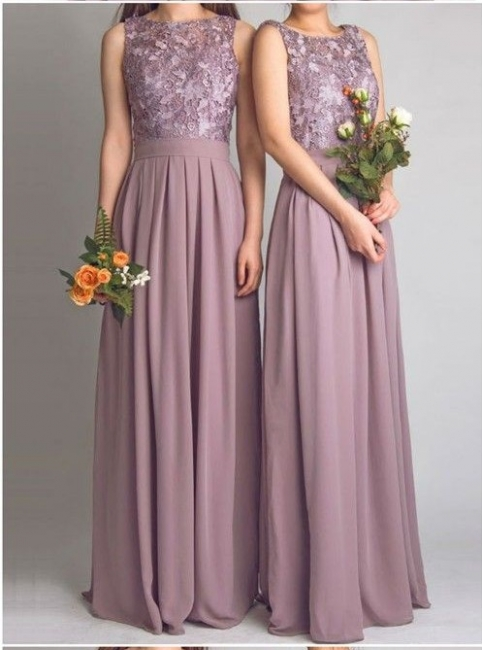Lace Bodice Chiffon Long Bridesmaid Dresses UK | Cheap Summer Maid of Hornor Dresses Online