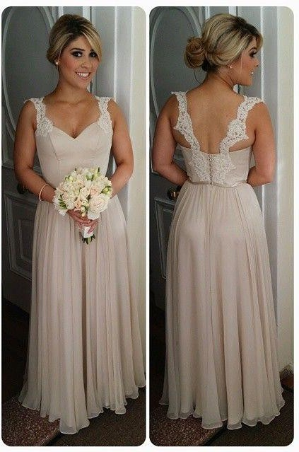 Chiffon Straps Bridesmaid Dresses UK Lace Open Back Floor Length Elegant Summer Maid of Honor Dresses