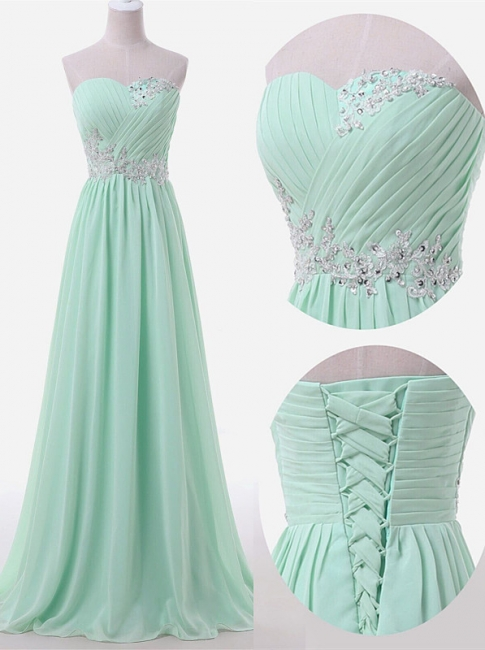 Sweetheart Sky Blue Mint Chiffon Maid of Honor Dresses Lace Beading Sweep Train Lace-up Back Bridesmaid Dresses UK