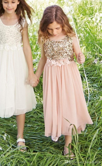 Cute Cheap Blush UK Flower Girl Dresses Sequins Bowknot Girls Pageant Dress