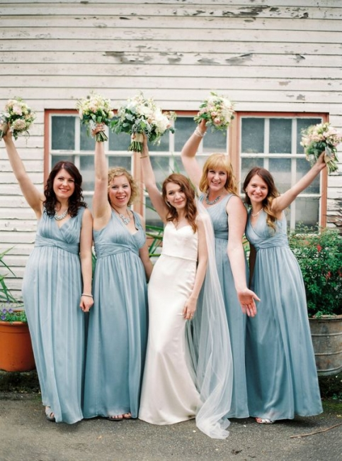 Blue V-Neck Long Chiffon Wedding Party Bridesmaid Dresses UK | Modern Maid of Hornor Dresses Online
