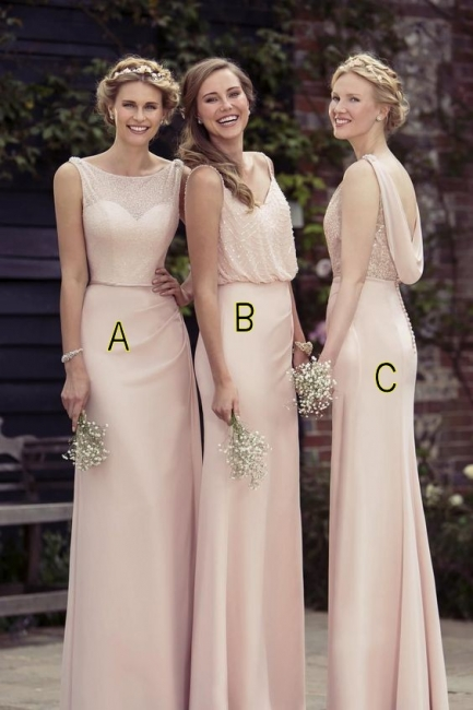 Apricot Long Chiffon Bridesmaid Dresses UK | Cheap Maid of Hornor Dresses Online