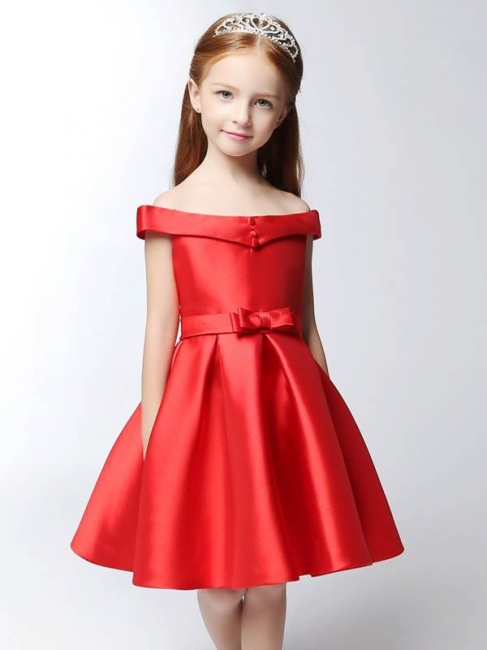 Modest Matte Satin Off-The-Shoulder Knee-Length UK Flower Girl Dress with Bowknot