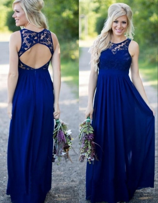 Midnight Blue Bridesmaid Dresses UK Lace Top Chiffon Open Back Summer Maid of the Honor Dresses