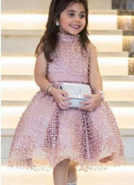 Chic Puffy UK Flower Girl Dresses | High Neck Pearls Short Pageant Dresses