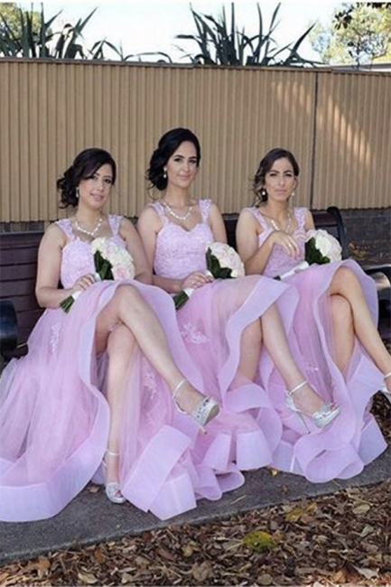 Elegant Tulle Lace Appliques Straps Summer Bridesmaid Dresses UK