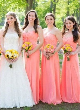 Simple Strapless Ruched Floor-length New-Arrival Bridesmaid Dresses UK