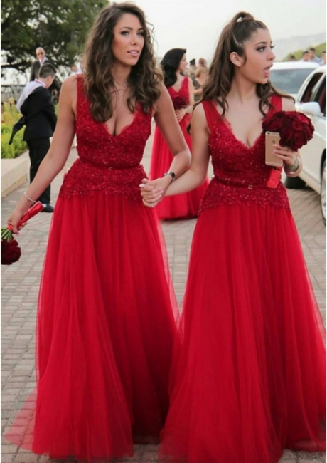 V-neck Beads Appliques Red Bridesmaid Dresses UK Spring | Tulle Cheap Long Bridesmaid Dress Online
