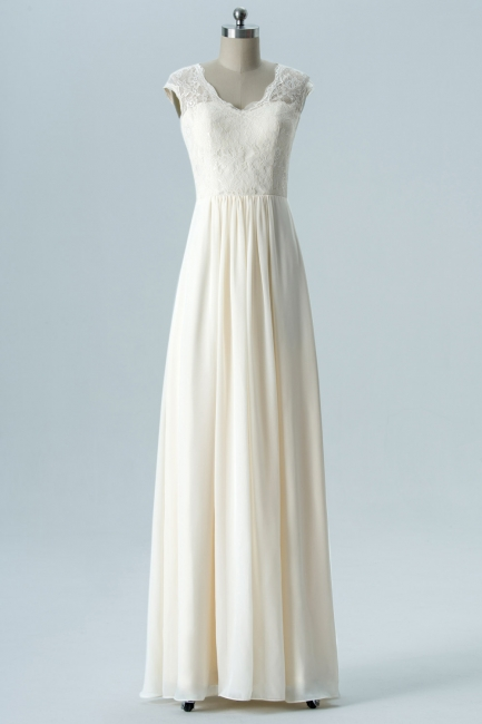 Fall Chiffon Bridesmaid Dresses UK | Lace Sleeveless Floor Length Maid of Honor Dresses