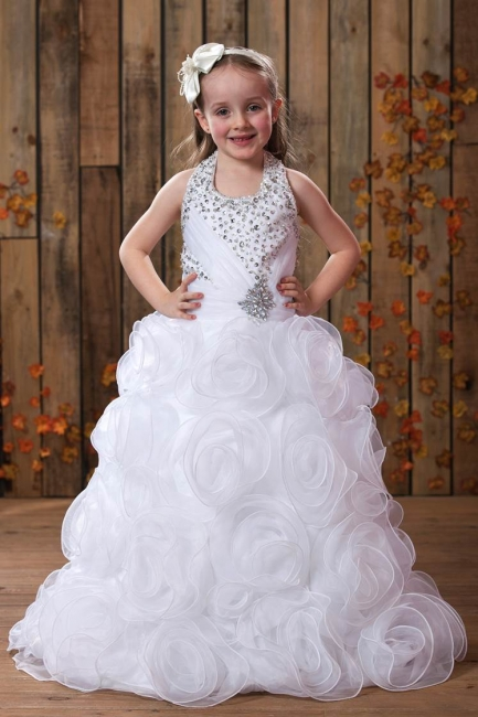 Modest Organza Halter Sleeveless UK Flower Girl Dress with Embellishing