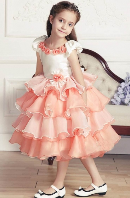 Modest Organza Satin Short Sleeve Layered UK Flower Girl Dress