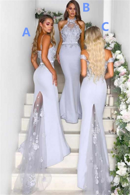 Lace Appliques Airy Blue Bridesmaid Dresses UK Cheap | Spring Long Maid of Honor Dresses Online