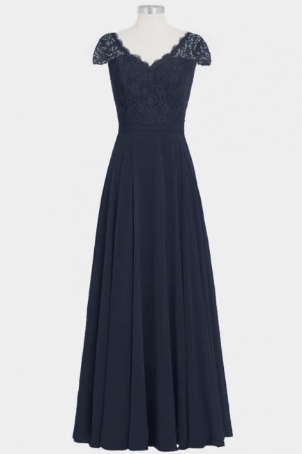 Fall Chiffon Lace Cap Sleeves Floor Length Bridesmaid Dresses UK