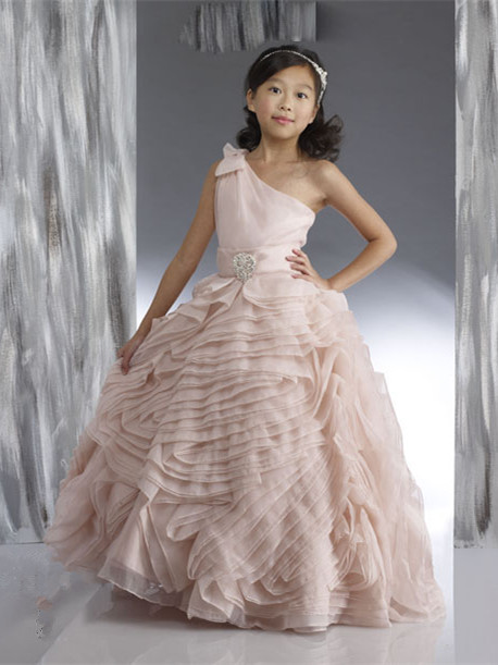 Organza UK Flower Girl Dresses One Shoulder Bow Beading Cute Tiered Puffy Pink Pageant Dress