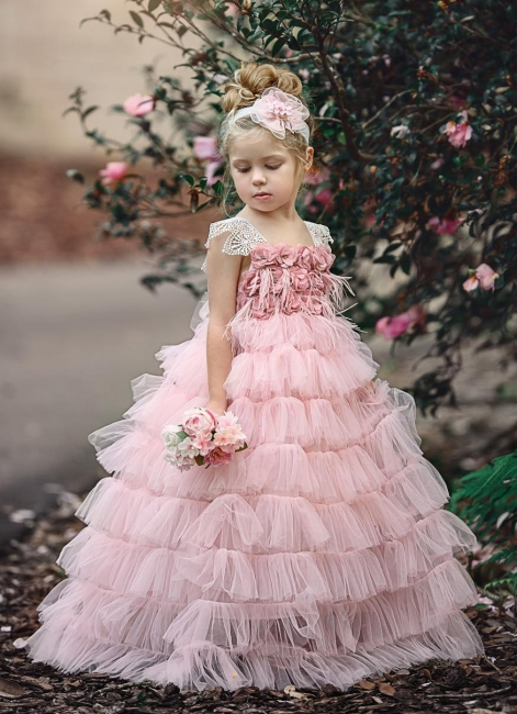 Pink Layers Tulle UK Flower Girl Dress | Lace Princess Girls Pageant Dress BA9852