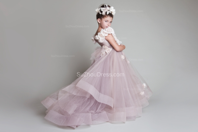 Sweep Train UK Flower Girl Dresses Flowers Tiered Draped Cute Puffy Organza Pink Pageant Dress