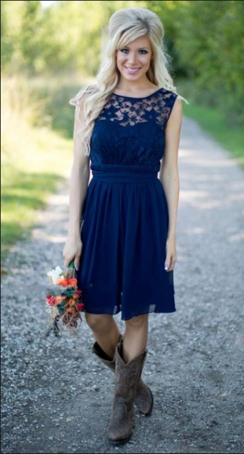 Navy Blue Lace Short Bridesmaid Dresses UK | Fall Long Wedding Party Dresses