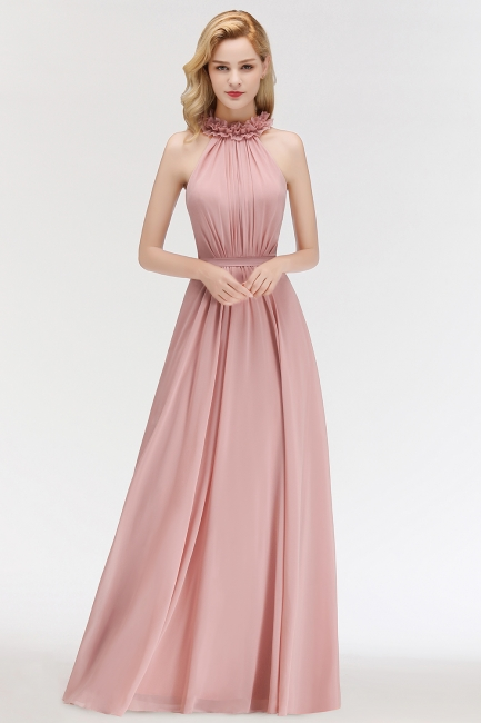 Elegant Summer Chiffon Bridesmaid Dresses UK | Halter Ruffles Long Formal Dresses