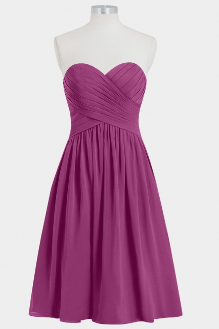 Fall Chiffon Strapless Sweetheart Knee Length Bridesmaid Dresses UK with Ruffles