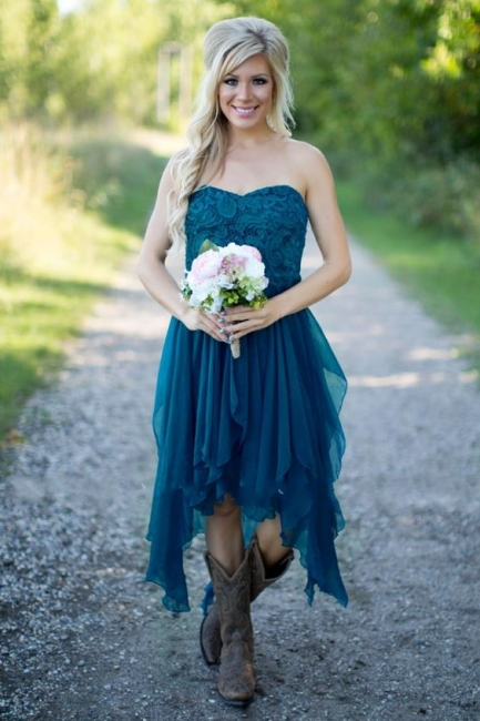 Teal Country Bridesmaid Dresses UK Lace Top Tiers Chiffon Asymmetrical Party Dresses for Wedding